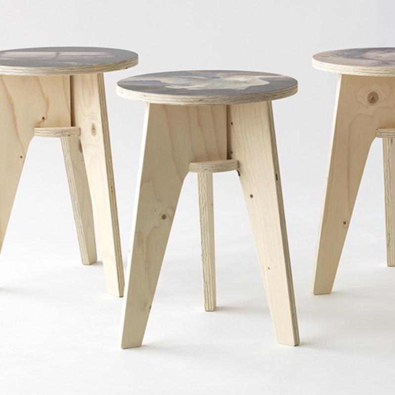 Ongebruikt kruk plywood print stool - Deja Vu AV-95